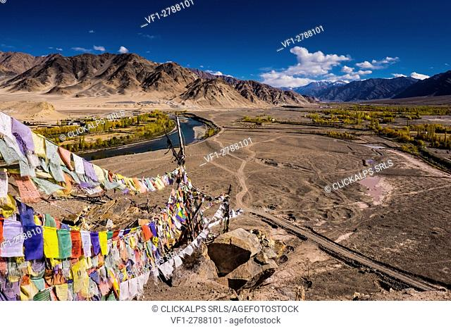 Stakna Monastery, Indus Valley, Ladakh, India, Asia. Prayer flags