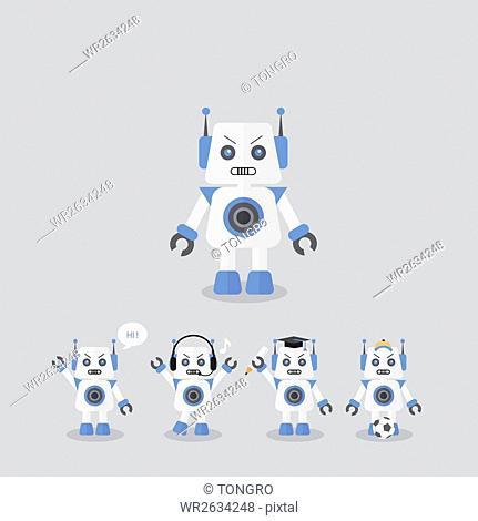 Icon set of various robots