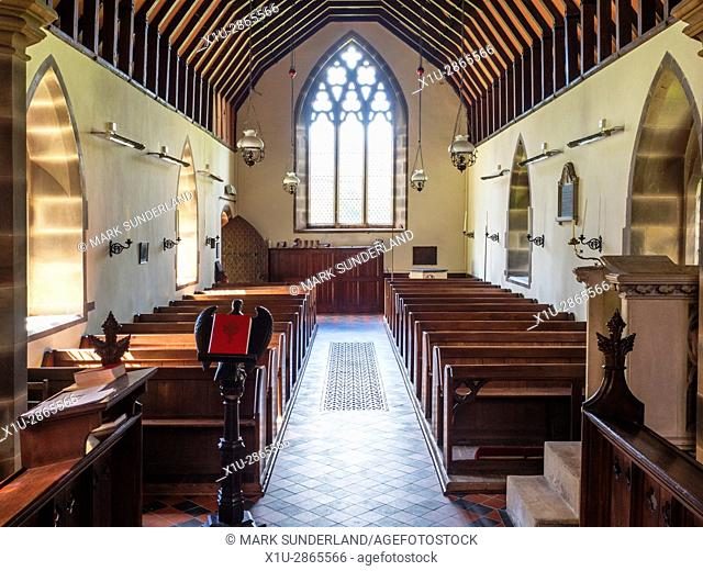 Wooden Pews at the Church of St Mary Lower Dunsforth Yorkshire England