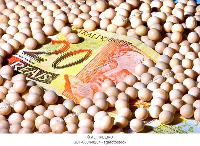 Nota de 20 reais; grãos de soja; Estúdio; São Paulo; SP; Brasil