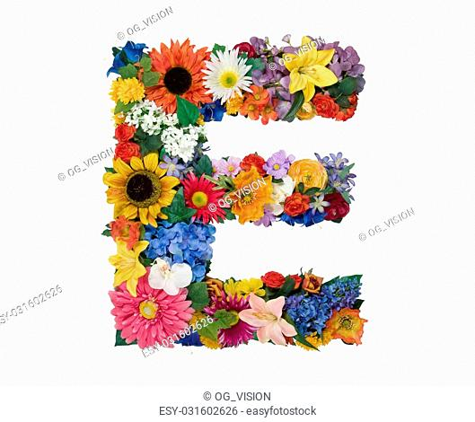 Letter E made of flowers isolated on white background