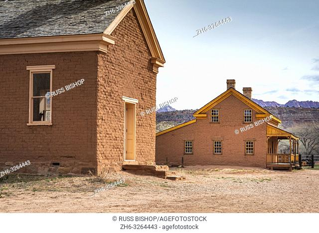 """Alonzo Russell adobe house (featured in the film """"""""Butch Cassidy and the Sundance Kid"""""""") and schoolhouse, Grafton ghost town, Utah USA"""