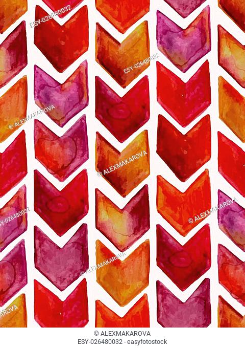 Vector Seamless Watercolor Geometric Pattern with Arrows