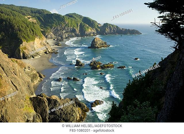 USA, Oregon, Curry County, Boardman State Park, Indian Sands from North Island Viewpoint, beach, sea stacks, and cliffs, September