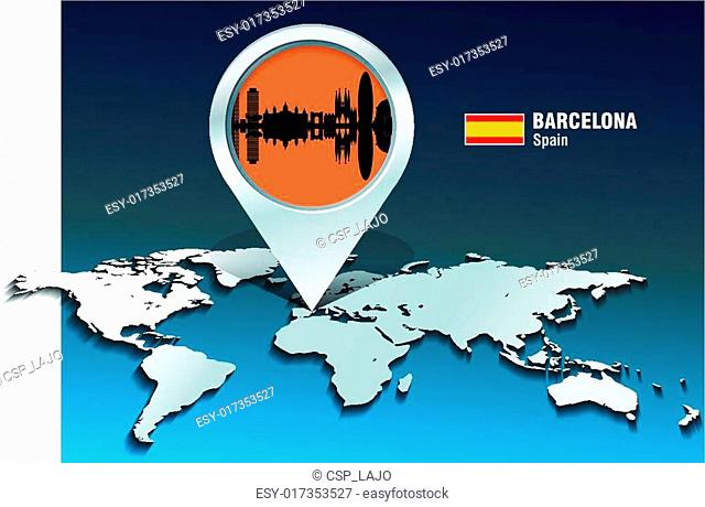 Map pin with Barcelona skyline
