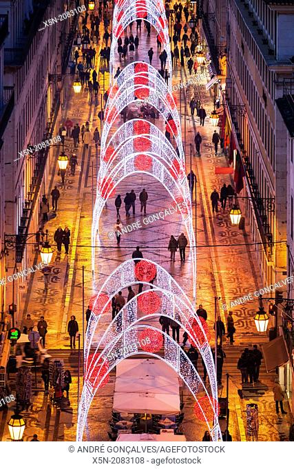 Christmas Lights in the Rua Augusta, Lisbon, Portugal, Europe