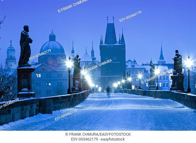 czech republic prague - charles bridge on winter morning