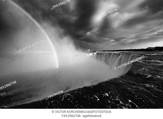 Rainbow over Horseshoe Falls of Niagara Falls. Ontario, Canada
