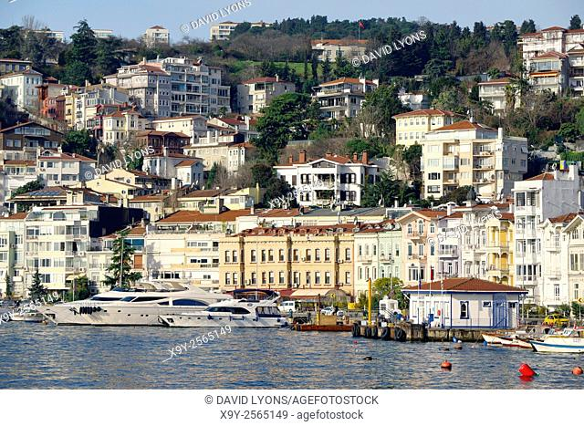 Arnavutkoy historic neighbourhood of Istanbul on the Bosphorus, Turkey. Villas, pleasure boats, ferries and seafood restaurants