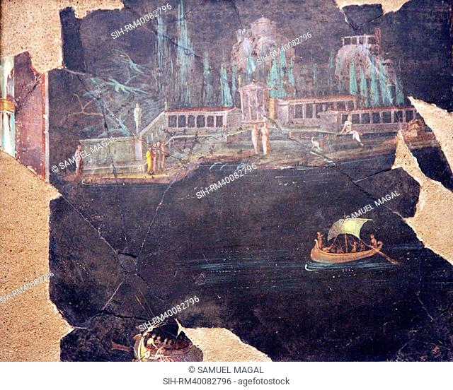 Italy, Naples, Naples National Archeological Museum, from Pompeii, Landscape with Boats
