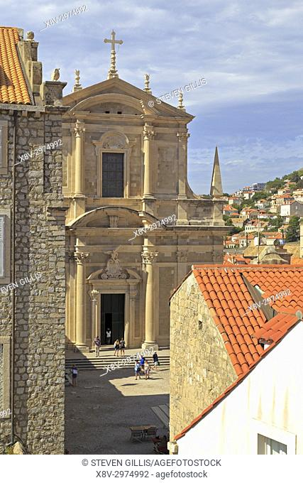 Church of St Ignatius in Dubrovnik Old City from the city walls, Croatia, UNESCO world heritage site, Dalmatia, Dalmatian Coast, Europe