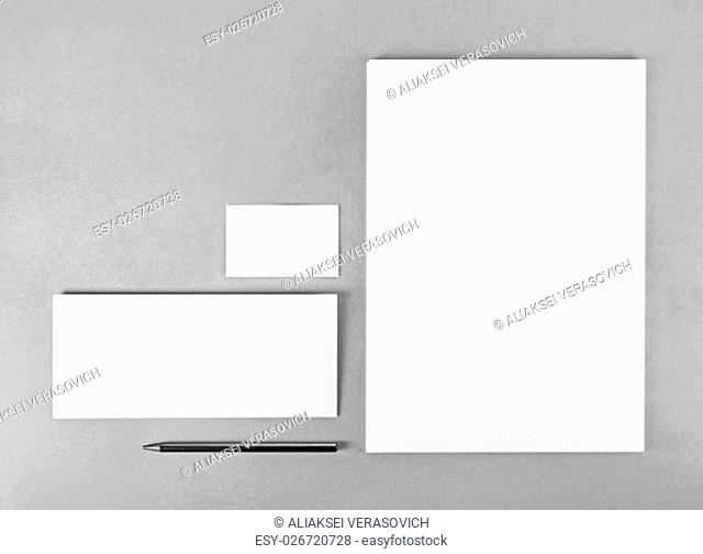 Photo of blank stationery set. Blank stationery template for branding identity for designers. Top view. Grayscale image