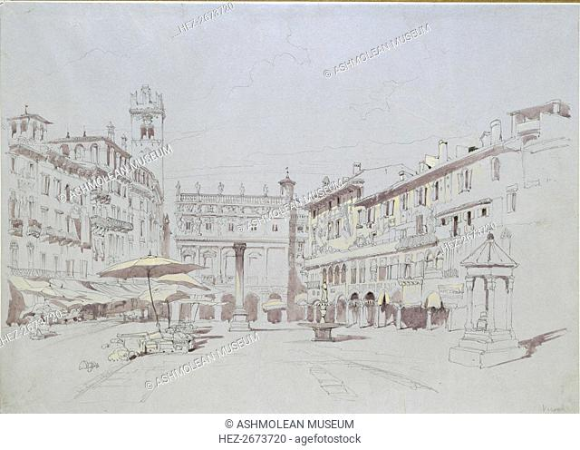 Study for Detail of the Piazza delle Erbe, Verona, 19 May 1841. Artist: John Ruskin