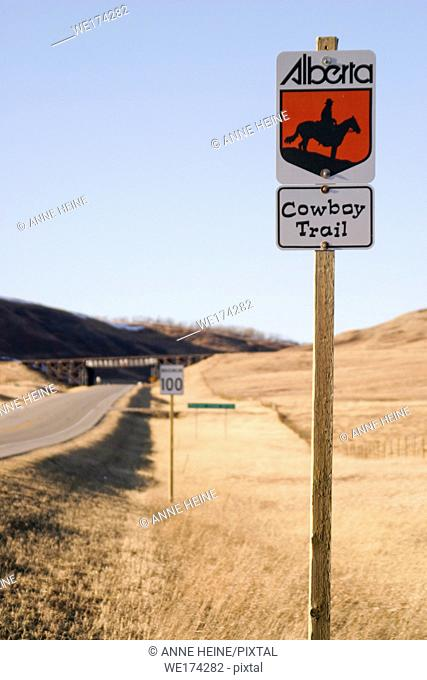 Alberta Cowboy Trail sign at roadside, Alberta, Canada