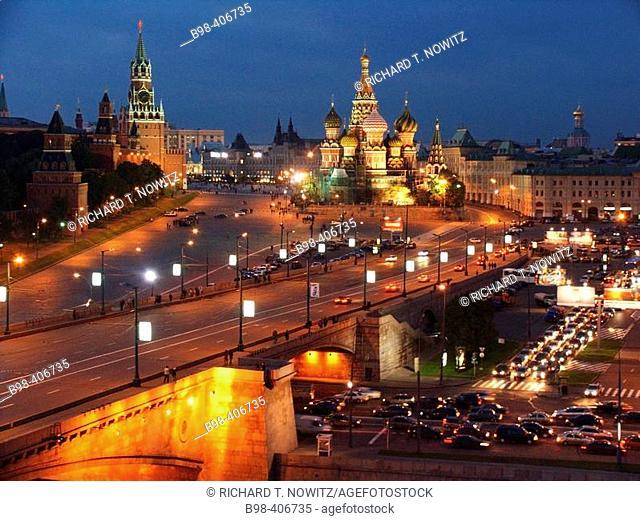 Moscow, Russia, Kremlevskaya Nab, Kremlin Walls, Moscow River, at twilight, with traffic, rush hour, car light streaks