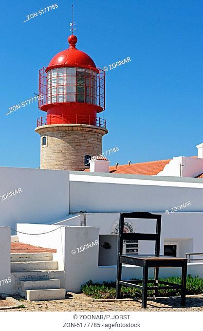 Leuchtturm am Cabo de Sao Vicente an der Algarve in Portugal / Lighthouse at Cape St. Vincent at the Algarve in Portugal