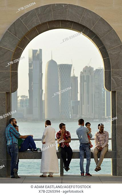 Doha. Qatar. Visitors at the Museum of Islamic Art