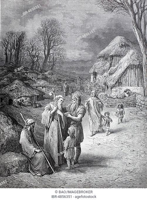 Hospitality for pilgrims in jerusalem in the 11th century, before first crusade, historical illustration, 1880, Germany