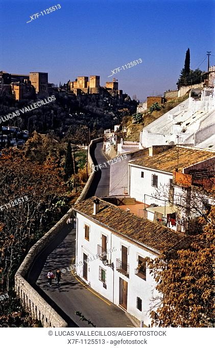 Alhambral as seen from Sacromonte troglodyte quarter Gipsy quarter, Granada, Andalusia, Spain, Europe