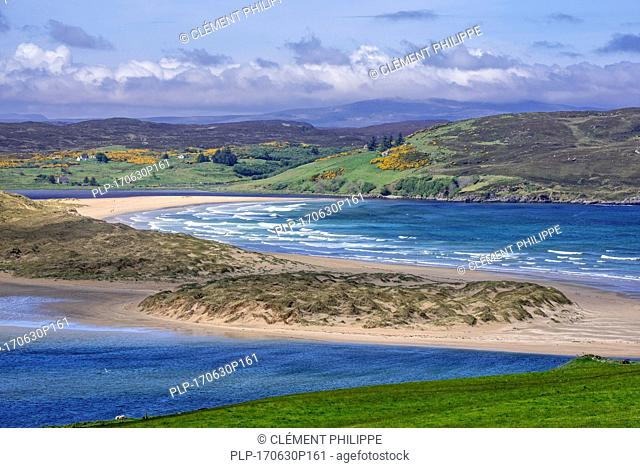 Torrisdale Bay and sandy beach at the mouth of the River Naver near Bettyhill and Invernaver, Caithness, Scottish Highlands, Scotland, UK