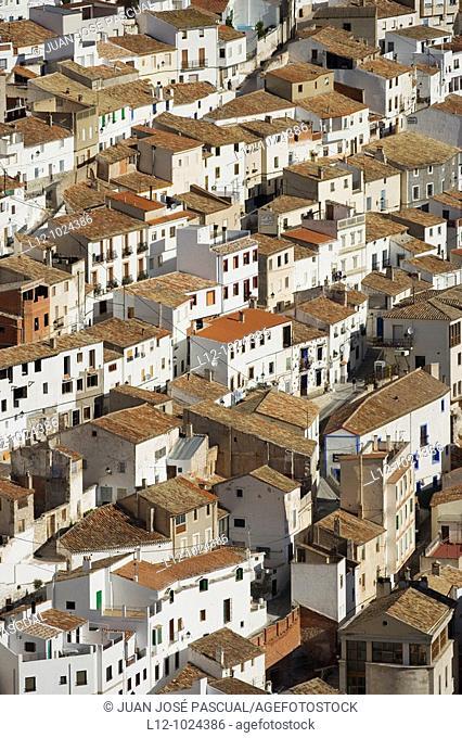 Houses, Alcala del Jucar, Albacete province, Castilla-La Mancha, Spain