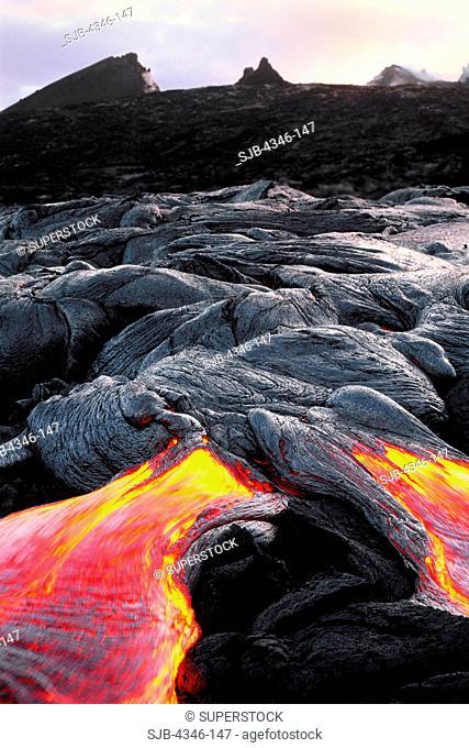Pahoehoe Lava Flow with Pu'u O'o Vent in the Distance