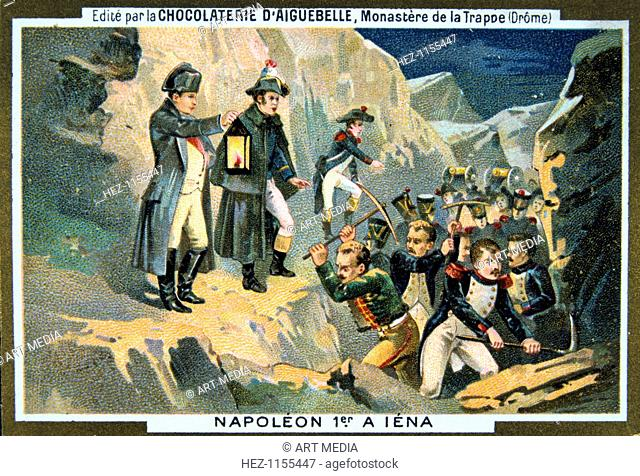Napoleon at the Battle of Jena, 14 October 1806, (19th century). The Battle of Jena in Germany began with the chance evening meeting of Marshal Lannes' corps...