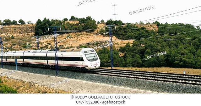 Spain, Catalonia, Lleida province, High Speed Train, AVE Alvia Serie 120 entering the Vinaixa viaduct