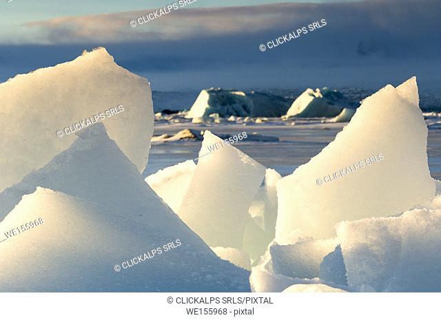 Ice chunks in the Jakulsarlon lagoon,southern Iceland,Europe