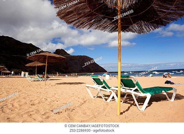 Scene from the Playa de las Teresitas beach, Santa Cruz, Tenerife, Canary Islands, Spain, Europe
