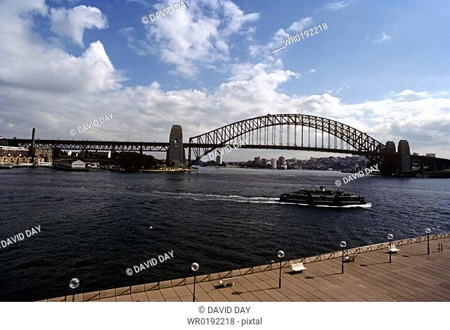 Sydney harbour bridge from the opera house Sydney Harbour, Australia 1983