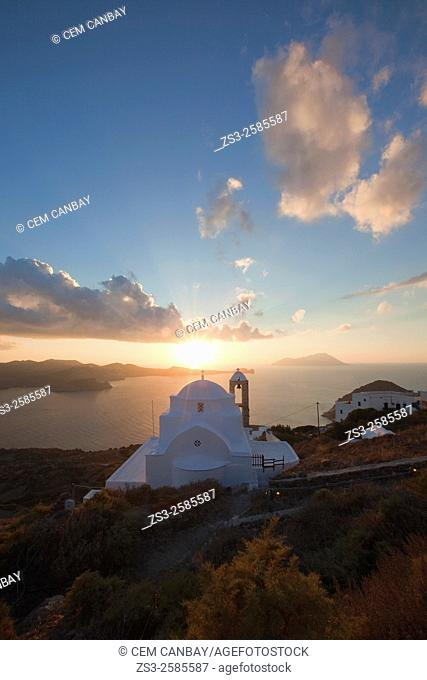 Domed church of Panagia Thalassitra overlooking the sea and the town Plaka at sunset, Milos, Cyclades Islands, Greek Islands, Greece, Europe