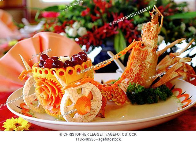 fruit salad in chariot shaped pumpkin