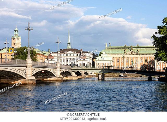 Railway bridge with church in the background, Storkyrkan, Gamla Stan, Stockholm, Sweden