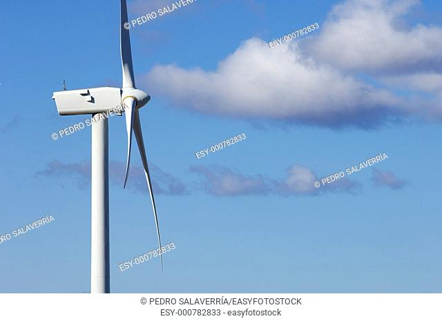 top view of a windmill for electric power production, Fuendetodos, Saragossa, Aragon, Spain