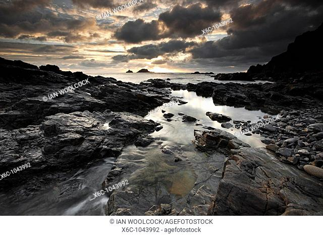 Dramatic Sunset at Priests Cove, Cape Cornwall England UK