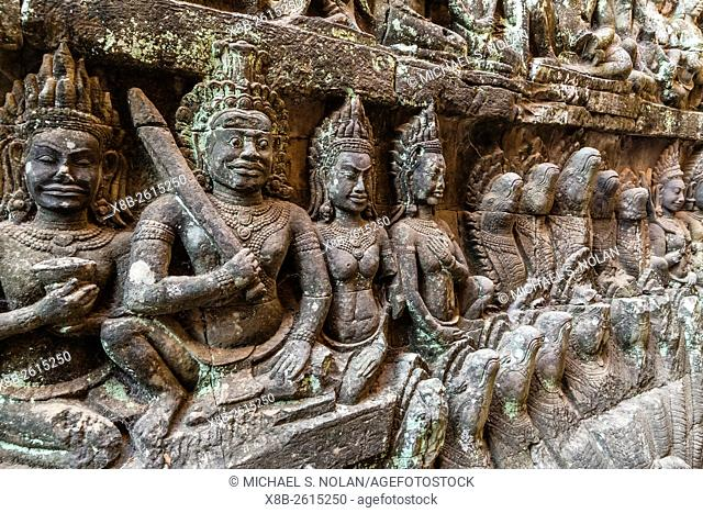 Apsara carvings in the Leper King Terrace in Angkor Thom, Angkor, Siem Reap Province, Cambodia, Khmer