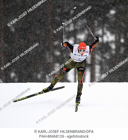 Eric Frenzel from Germany in action during the men's combination normal hill/4x5 km event at the Nordic World Ski Championships in Lahti, Finland