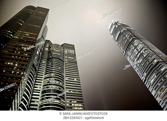 Hong Kong skyline at night Central business and financial district (IFC 2 Tower at the left), Hong Kong Island, Hong Kong, China, East Asia