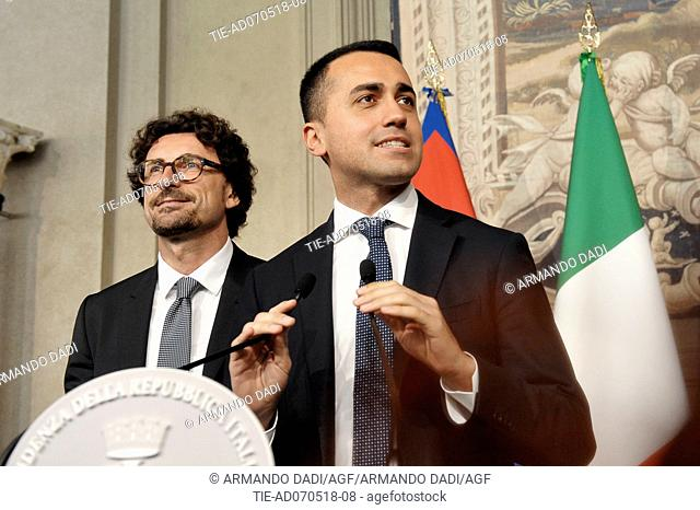 Danilo Toninelli, Leader of 5 Star Movement Luigi Di Maio after the meeting with the Republic President, Quirinale PALACE, rOME, italy-07-05-2018