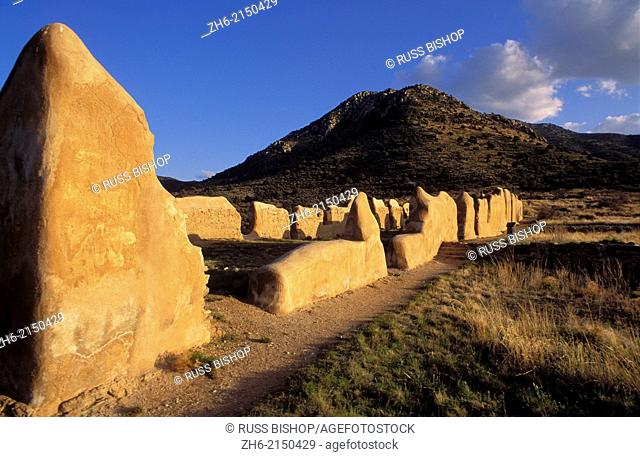 Evening light on the ruins of the cavalry barracks, Fort Bowie National Historic Site, Arizona USA
