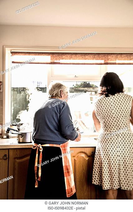 Mother and adult daughter washing dishes together