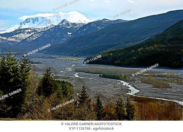 his photo is a landscape of Mount St Helen's volcano located in Washington state This has a valley scene with a river running through showing the comeback to...
