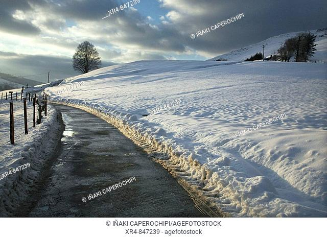 Snow covered mountain, Pagoeta Natural Park, Aia, Guipuzcoa, Basque Country, Spain