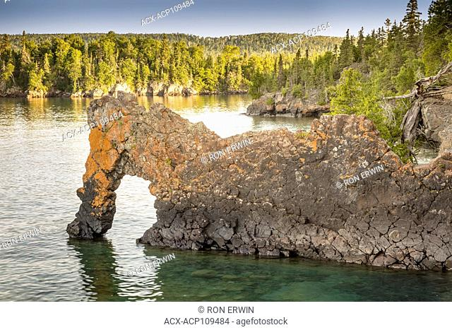 Rock formation called the Sea Lion in Sleeping Giant Provincial Park, Ontario, Canada