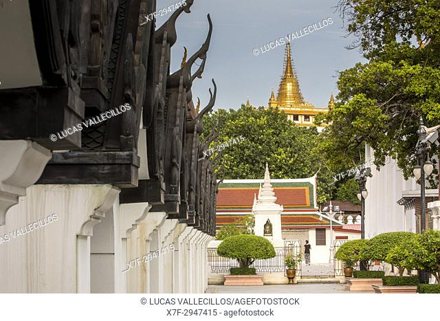 Wat Saket Temple at Golden Mount, from Wat Thepthidaram Worawihan, Bangkok, Thailand
