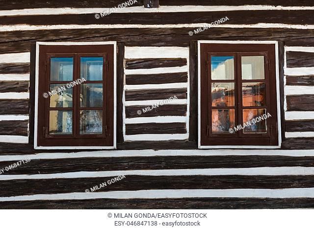 Windows of a traditional house in Mosovce village, northern Slovakia.
