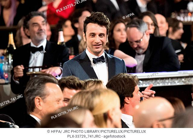 """The Golden Globe is awarded to Justin Hurwitz for BEST ORIGINAL SCORE – MOTION PICTURE for """"""""First Man"""""""" at the 76th Annual Golden Globe Awards at the Beverly..."""