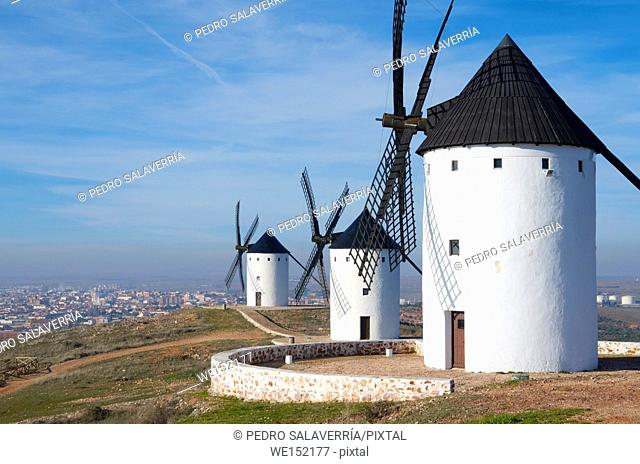 group of traditional windmills in Alcazar de San Juan, Ciudad Real, Castilla La Mancha, Spain