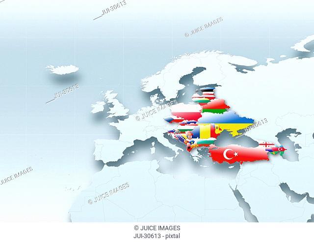 map, Western Europe, flag, flags, eastern flag, grey, political